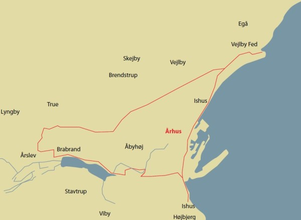 Århus nord-vest-syd-øst